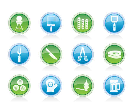 picnic, barbecue and grill icons - vector icon set Stock Vector - 12481417