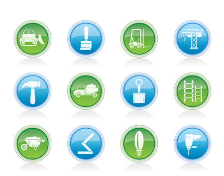 pierce: Building and Construction equipment icons - Vector Icon Set Illustration