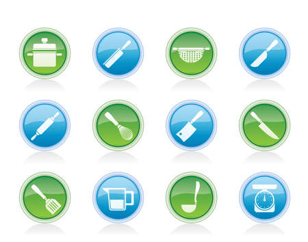 Cooking equipment and tools icons - vector icon set Vector