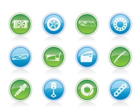 puertas de cristal: Piezas de coches realistas y los iconos de Servicios - Vector Icon Set 1