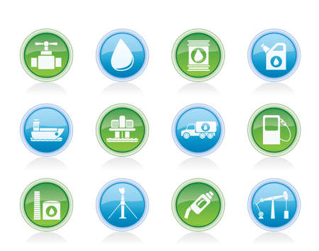 oil and petrol industry objects icons - vector icon set Vector