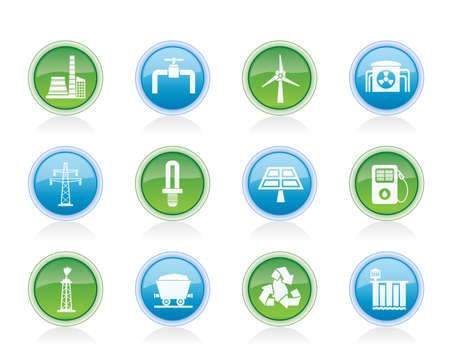 Power and electricity industry icons - vector icon set Vector