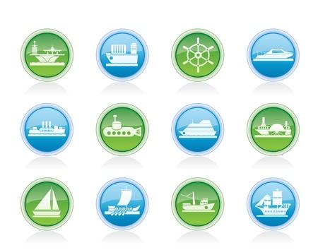 transporteur: diff�rents types d'ic�nes bateau et bateau - jeu d'ic�nes Vector