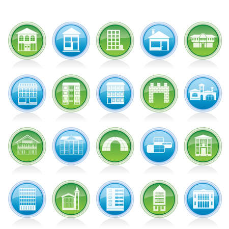different kinds of houses and buildings - Vector Illustration Stock Vector - 12481502