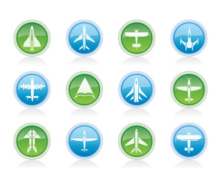 passanger: different types of plane icons - vector icon set