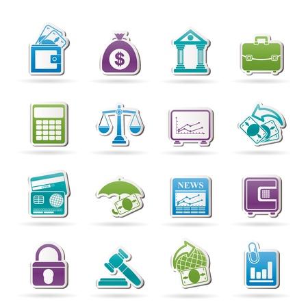 edificio banco: Negocios, las finanzas y el banco iconos - conjunto de icono de vector