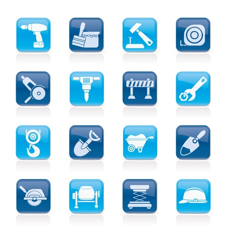 site background: building and construction icons - vector icon set Illustration