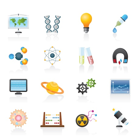 radiacion: la ciencia, la investigaci�n y la educaci�n de los iconos conjunto - Vector Icon Vectores