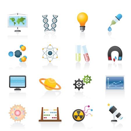 fizika: tudomány, a kutatás és az oktatás, ikonok - Vector Icon set