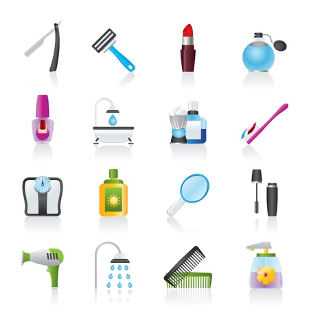 hairdryer: body care and cosmetics icons - vector icon set Illustration