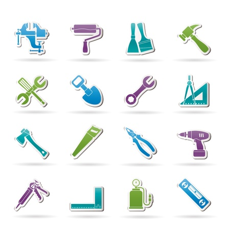 Building and Construction work tool icons - vector icon set Vector