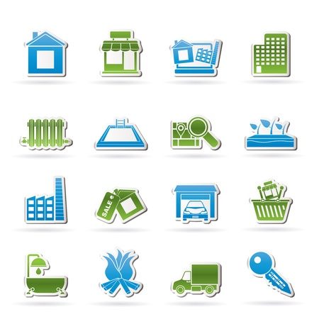and heating: Real Estate and building icons - Vector Icon Set