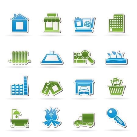 Real Estate en de opbouw van pictogrammen - Vector Icon Set Vector Illustratie