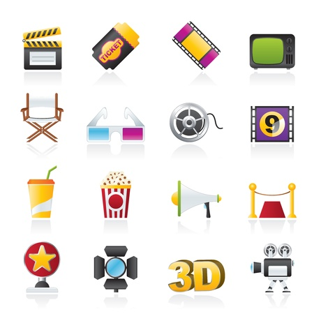 filming: Cinema and Movie icons- vector icon set