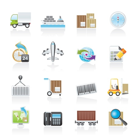 water transportation: shipping and logistics icons - vector icon set