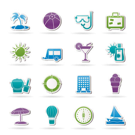 Vacation and holiday icons - vector icon set Vector