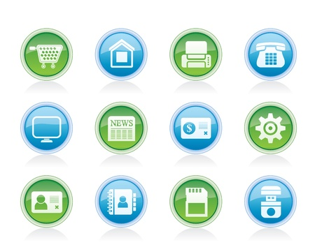 Business, office and website icons - vector icon set Vector