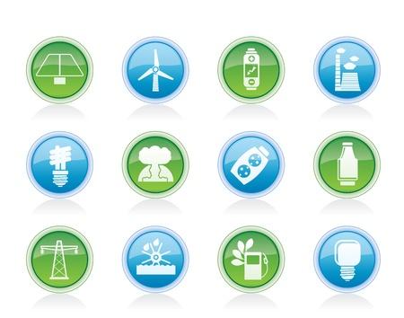 thermal power plant: Energ�a, energ�a y electricidad iconos - conjunto de icono de vector