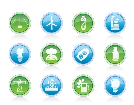 hydroelectric: Power, energy and electricity icons - vector icon set