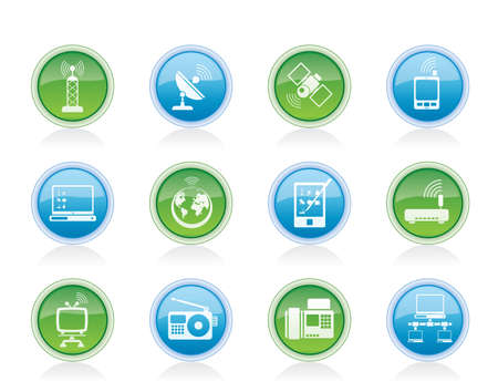 communication and technology icons - vector icon set Vector