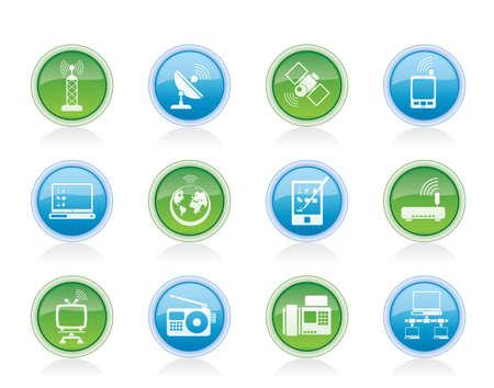 cable red: comunicación y tecnología iconos - conjunto de icono de vector