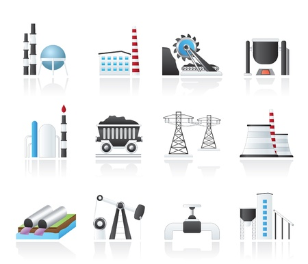 Heavy industry icons - vector icon set Vector