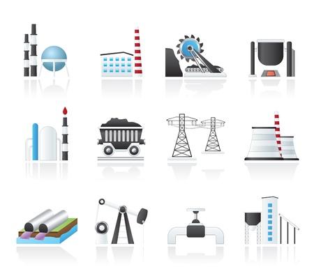 carbone: Icone di industria pesante - set di icone vector
