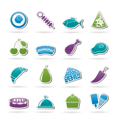 cheese bread: Different kind of food icons - vector icon set