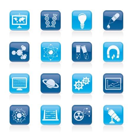 onderzoek: wetenschap, onderzoek en onderwijs Pictogrammen - Vector Icon Set