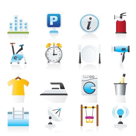 parking facilities: Del hotel y los viajes iconos conjunto - vector icono Vectores
