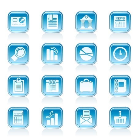 bank book: Business and Office Realistic Internet Icons - Vector Icon Set 3 Illustration