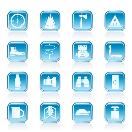 camping site: Tourism and Holiday icons -  Vector Icon Set Illustration