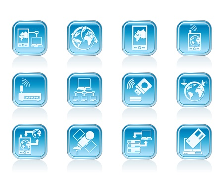 communication, computer and mobile phone icons - vector icon set Stock Vector - 12853077