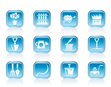 Garden and gardening tools icons - vector icon set Stock Vector - 12851943