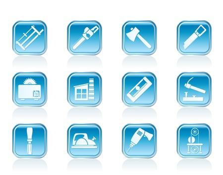 Industrie du bois et du bois icônes d'outils - jeu d'icônes vecteur