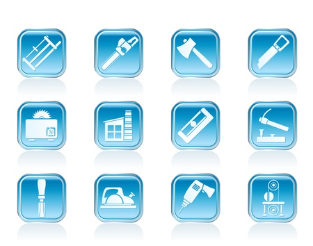 impact tool: Woodworking industry and Woodworking tools icons - vector icon set Illustration
