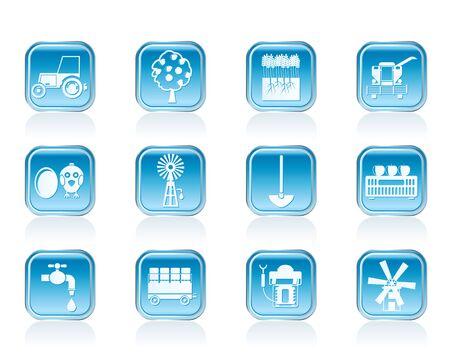 agrario: herramientas para la agricultura de la industria y la agricultura iconos - conjunto de icono de vector