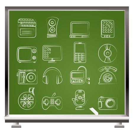multimedia background: multimedia and technology icons - vector icon set Illustration