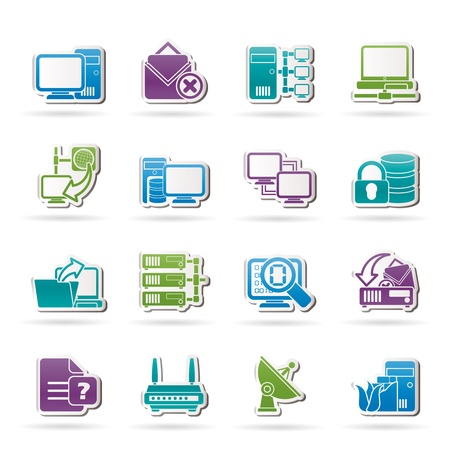 file sharing: Computer Network and internet icons - vector icon set
