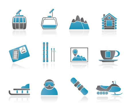 Ski Track and sport icons - vector icon set Vector