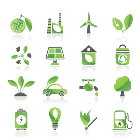 solar house: Green, Environment and ecology Icons - vector icon set