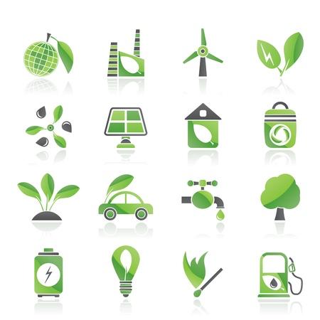 maison solaire: Ic�nes vert, l'environnement et l'�cologie, icon set vecteur