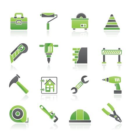 plumber with tools: Construcci�n y edificaci�n Iconos - conjunto de icono de vector Vectores