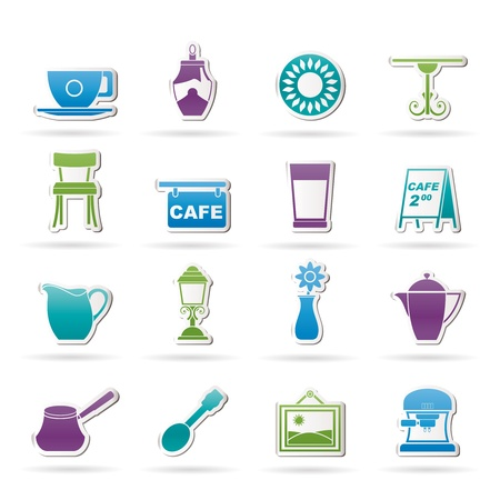 Caf&eacute, and coffeehouse icons - vector icon set