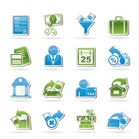 retour: Belastingen, zakelijke en financiële iconen - vector icon set Stock Illustratie