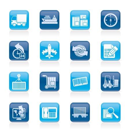 icônes d'expédition et de logistique - jeu d'icônes vecteur