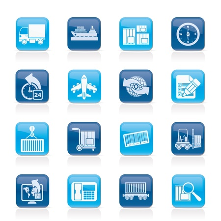 shipping package: shipping and logistics icons - vector icon set Illustration