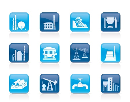 oil pipeline: Heavy industry icons - vector icon set