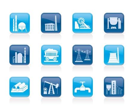 oil pipeline: Iconos de la industria pesada - conjunto de icono de vector