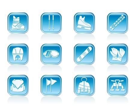 piste: ski and snowboard equipment icons - vector icon set Illustration